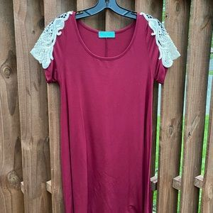 Maroon T-Shirt Dress with Lace Accent Sleeve